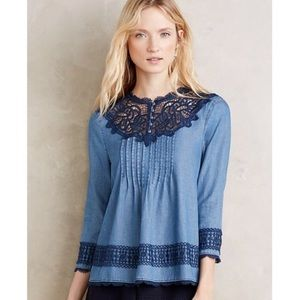 Anthropologie holding horses lace chambray blouse